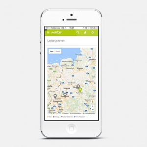 wallbe app: Charging stations plotted on map